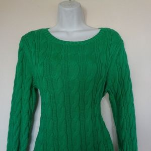 Lands' End Green Cable Knit Sweater MP
